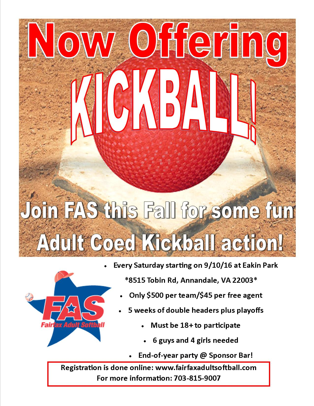 FAS NOW OFFERING KICKBALL