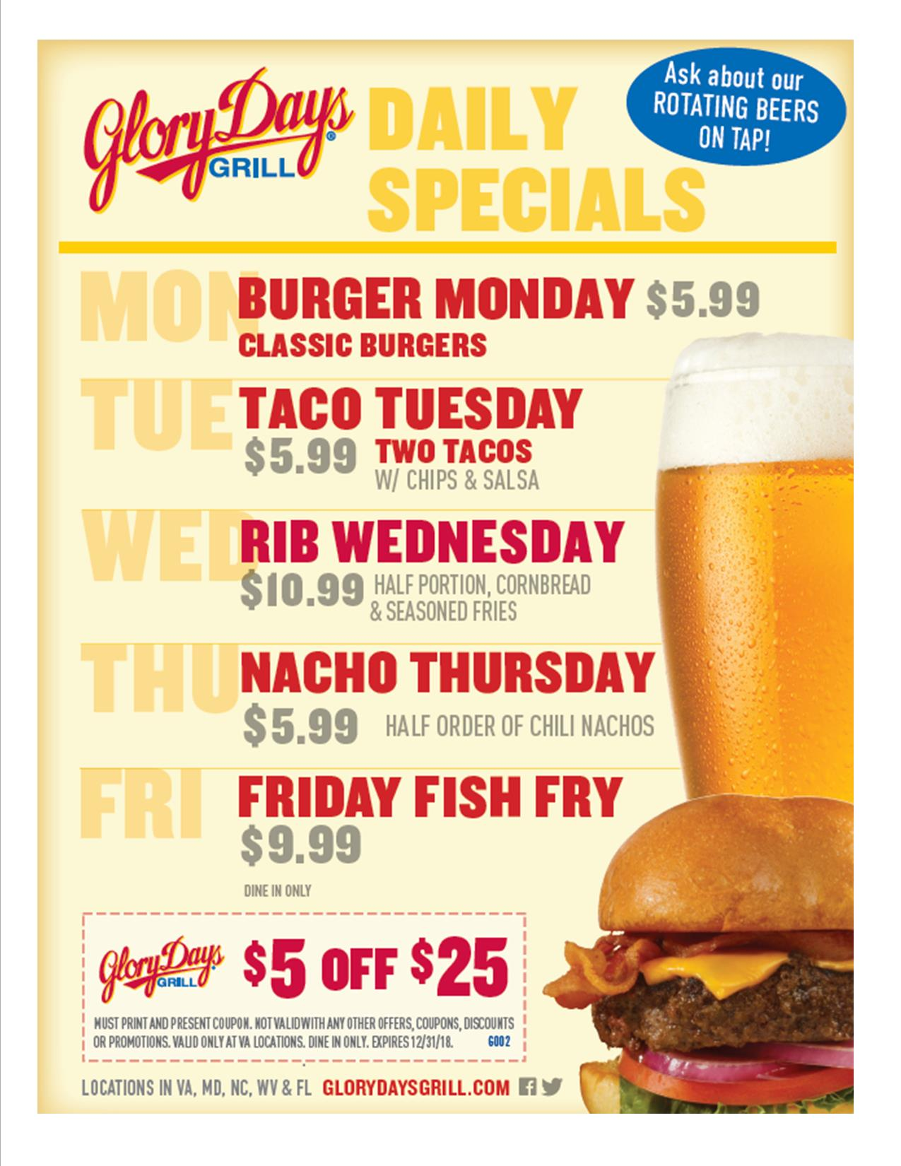 $5 Off Coupon at Glory Days Grill